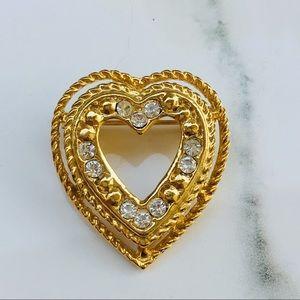 Gold heart brooch crystals Nordstrom